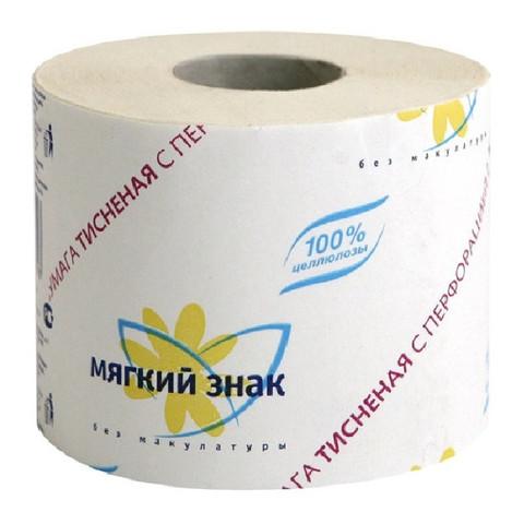 Бумага туалетная Мягкий знак 1-слойная белая 51 м