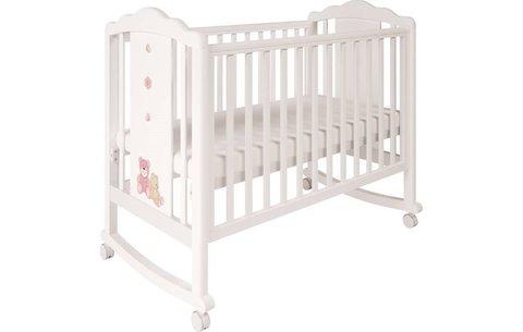 Кроватка детская Polini kids Classic 621 Плюшевые Мишки белый-розовый