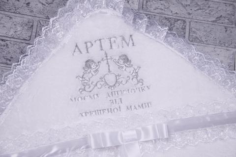 Именная крыжма для крестин Ангел (серебро)