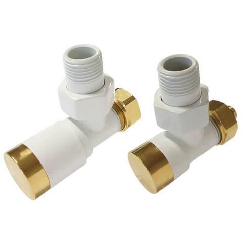 Комплект клапанов с ручной регулировкой Форма угловая Элегант Белый-Золото. Для пластика GZ 1/2 х 16х2