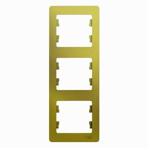 Рамка на 3 поста, вертикальная. Цвет Фисташковый. Schneider Electric Glossa. GSL001007