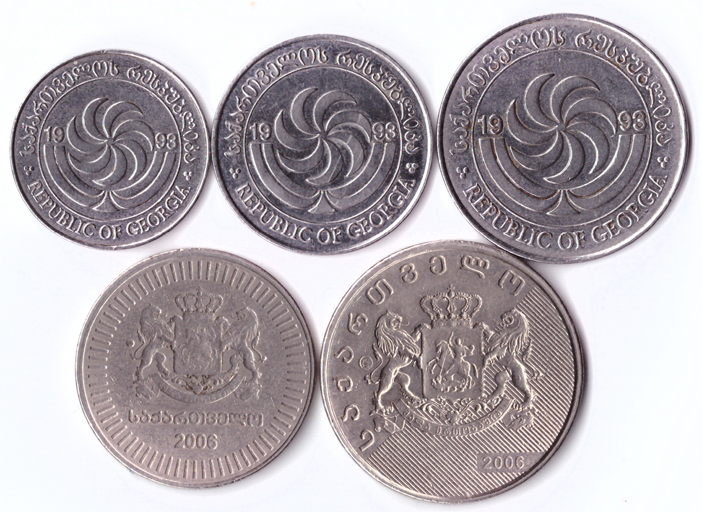 Набор из 5 монет Грузии (5, 10, 20 и 50 тетри; 1 лари) XF-AU