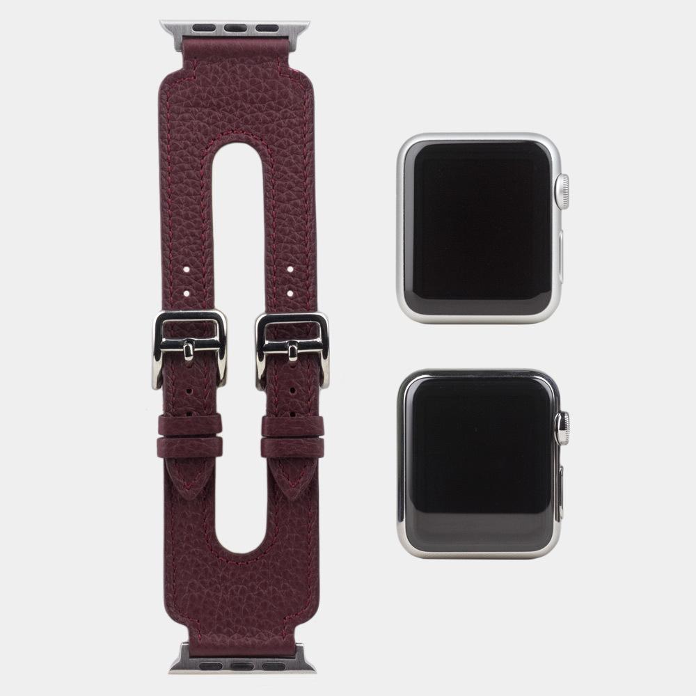 Ремешок для Apple Watch 42мм ST Double Buckle из натуральной кожи теленка, бордового  цвета