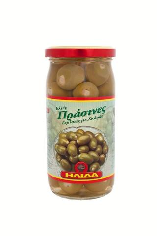 Зеленые оливки фаршированные чесноком в рассоле Ilida 350 гр