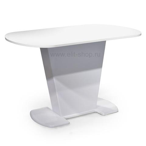 Стол ЛЕОНЕ Белый / подстолье белое / колонна №18 белая / 120(152)х80см