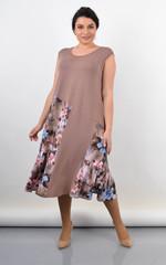 Флоріана. Трикотажне плаття на літо великий розмір. Бежевий.