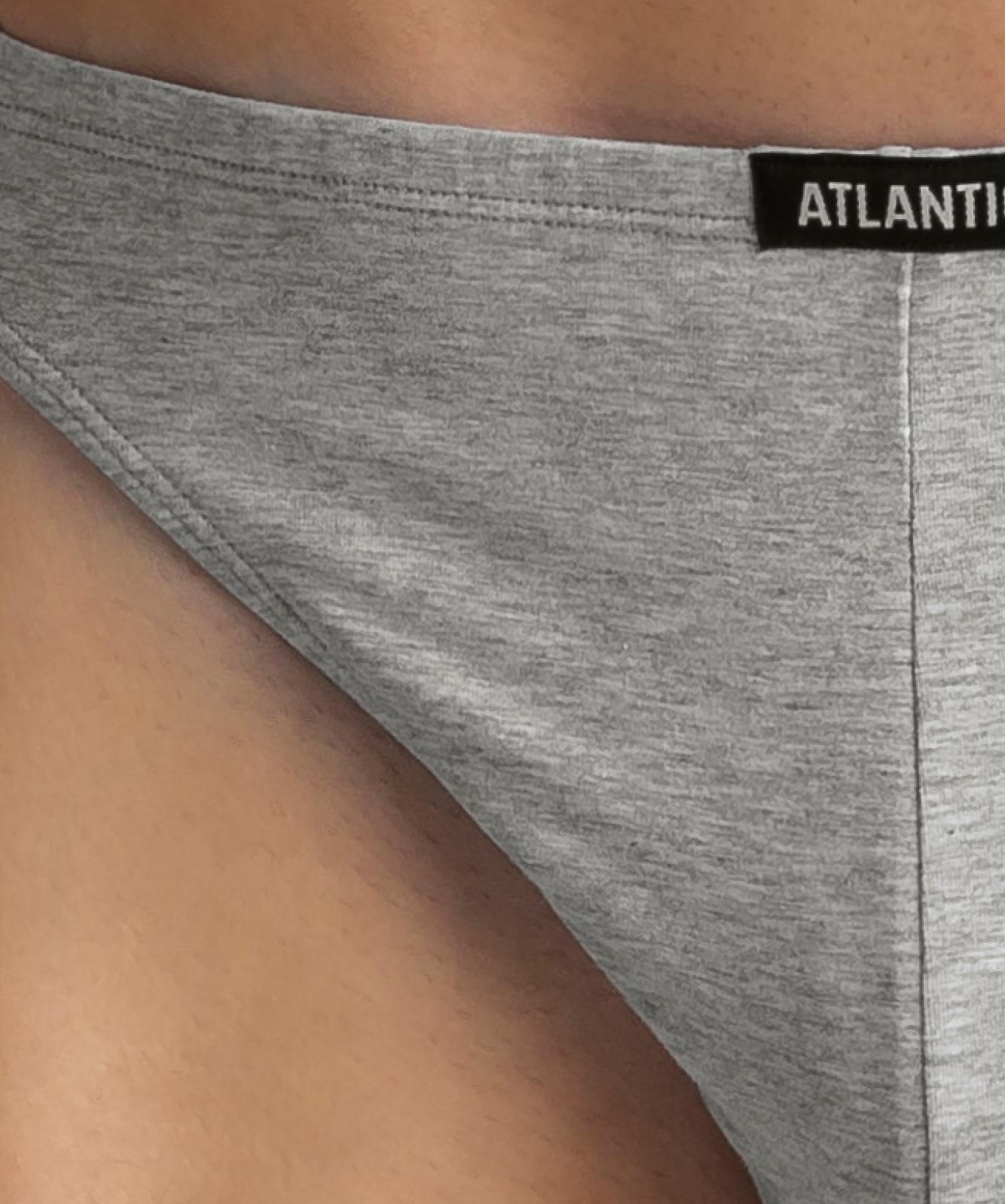 Мужские трусы слипы мини Atlantic, набор 3 шт., хлопок, черные + деним + серый меланж, 3SMP-002