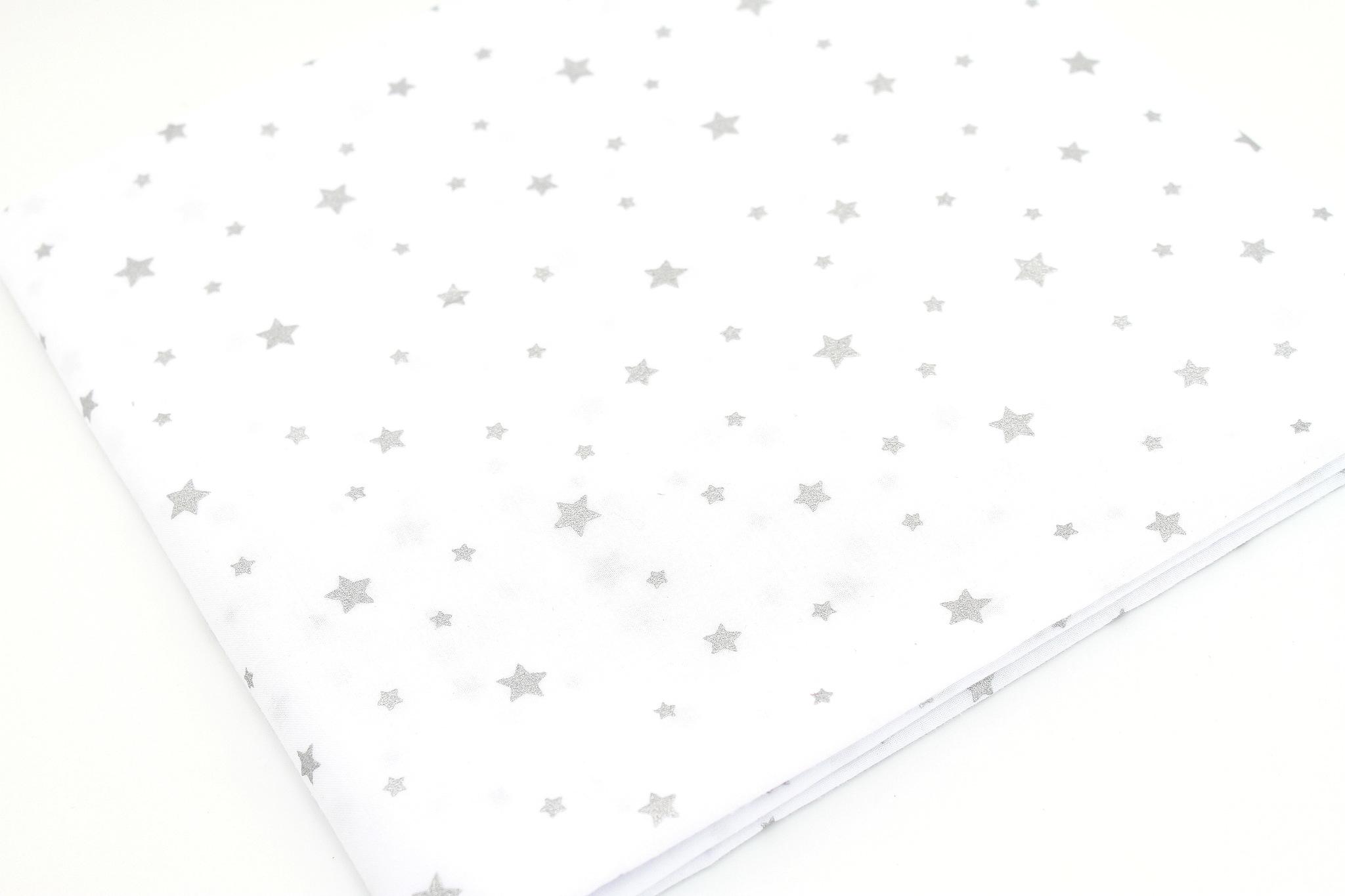 Звезды серебро(глиттер), на белом