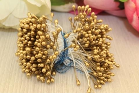 Тычинки для сахарных цветов золотые (80 нитей)