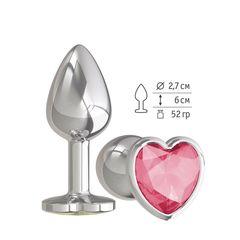 Анальная втулка Silver с малиновым кристаллом сердце маленькая