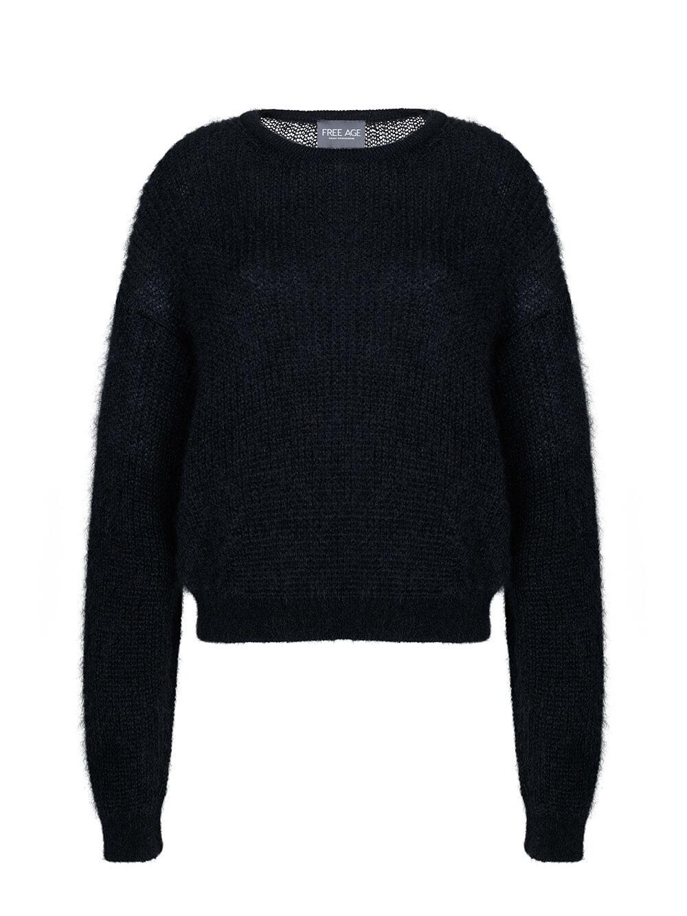 Женский джемпер черного цвета из мохера и шерсти - фото 1