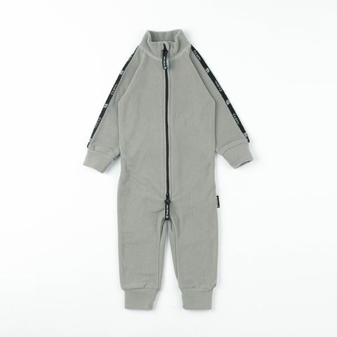 Thermal fleece jumpsuit with stripes - Gray
