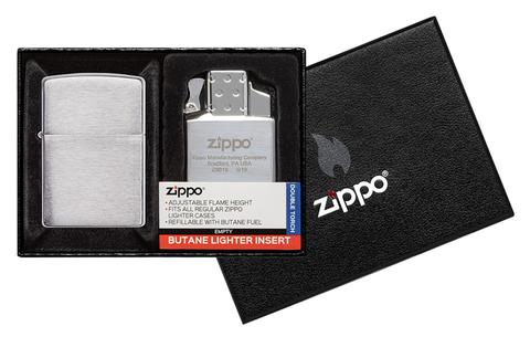 Набор Zippo: зажигалка 200 с покрытием Brushed Chrome и газовый вставной блок с двойным пламенем