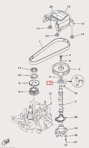 Сальник распредвала 18×35×7-R для лодочного мотора F9,9 Sea-PRO (8-1)