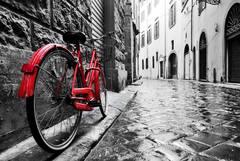 Картина раскраска по номерам 40x50 Красный велосипед на черно-белой улице