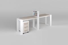 Двухместный маникюрный стол Matrix с подставкой для лаков и тумбой