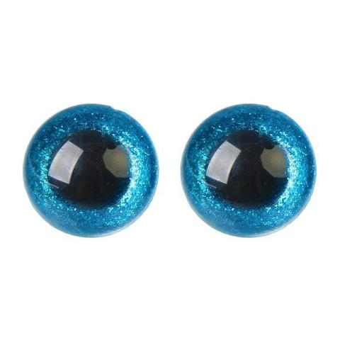 Глазки пластиковые с искоркой 24 мм голубой