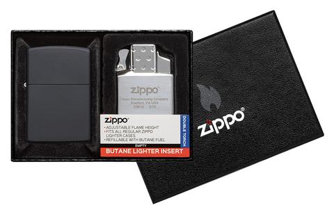 Набор Zippo: зажигалка 218 с покрытием Black Matte и газовый вставной блок с двойным пламенем