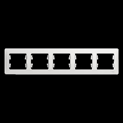 Рамка на 5 постов, горизонтальная. Цвет Белый. Schneider Electric Glossa. GSL000105