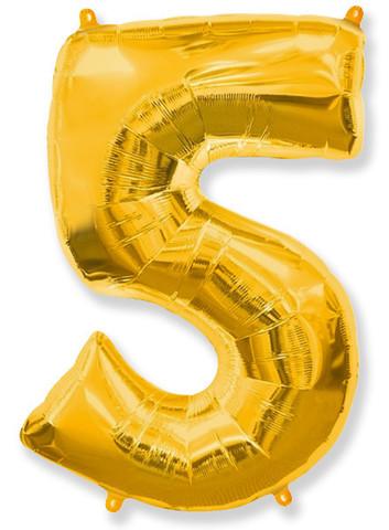 Воздушный шар (40''/102 см) Цифра, 5, Золото, 1 шт.