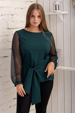 Іветта. Блуза Pluse Size з прозорим рукавом. Смарагд
