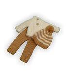 Вязаный жакет, рейтузы и шапочка - Бежевый / белый. Одежда для кукол, пупсов и мягких игрушек.