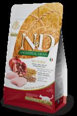 Корм для стерилизованных кошек, Farmina N&D Low Grain Cat Chicken & Pomegranate Neutered, с курицей и гранатом