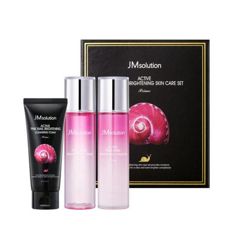 JMsolution Active Pink Snail Brightening Skin Care Set Prime бьюти - набор для сияния кожи с муцином улитки