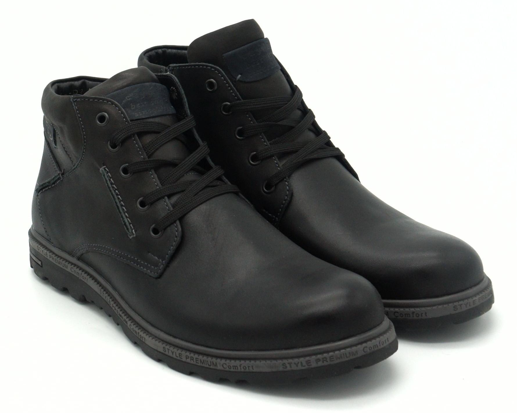 Черные кожаные ботинки на шнуровке с замком