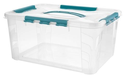 Контейнер д/хранения Econova Grand box 15,3л 39х29х18см с ручкой,замки,голубой ПП