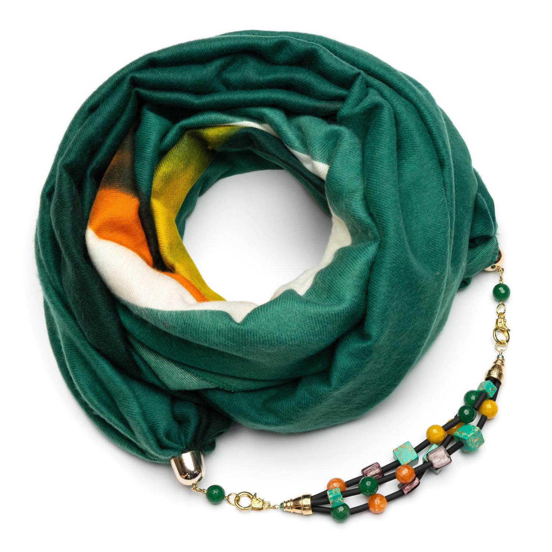 Кашемировый шарф с бижутерией