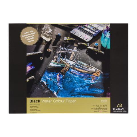 Альбом для акварели Rembrandt 360 г/м2 24*32см черные листы 10л склейка