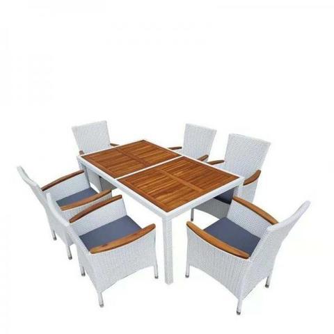 Комплект плетеной мебели мебели AFM-460A 150x90 White (6+1)