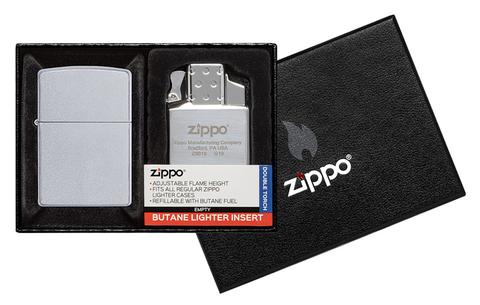 Набор Zippo: зажигалка 205 с покрытием Satin Chrome™ и газовый вставной блок с двойным пламенем