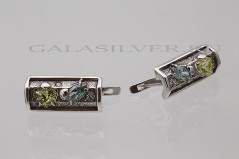 Серьги с самоцветами из серебра 925