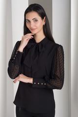 Мілена. Вишукана блуза з оригінальним рукавом. Чорний