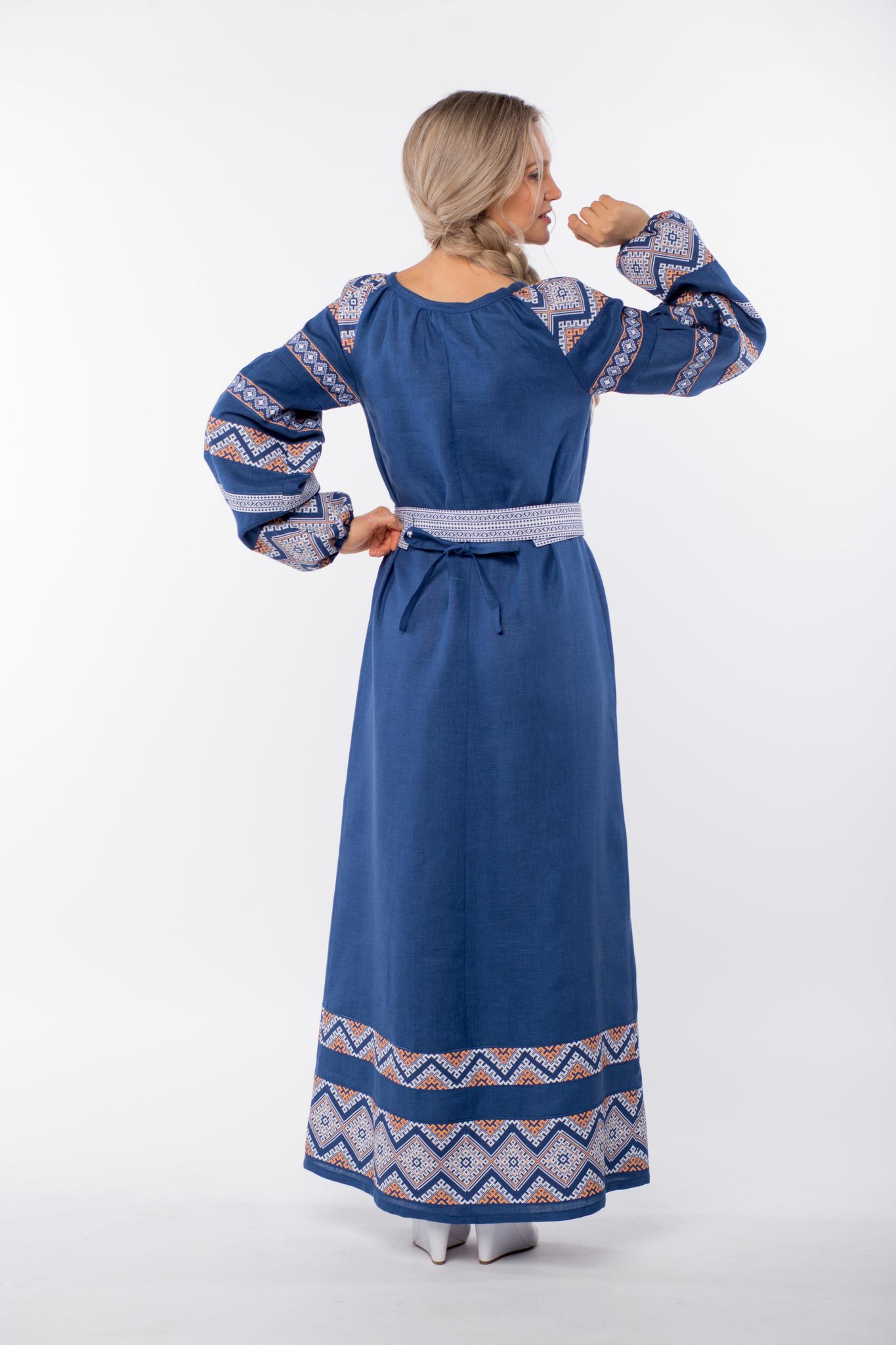 Платье льняное Алтайское вид сзади
