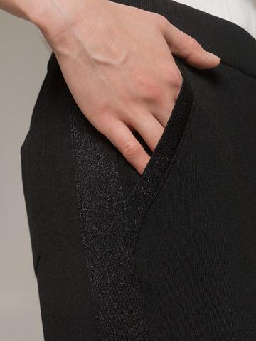 Женские черные брюки из вискозы на высокой талии - фото 4
