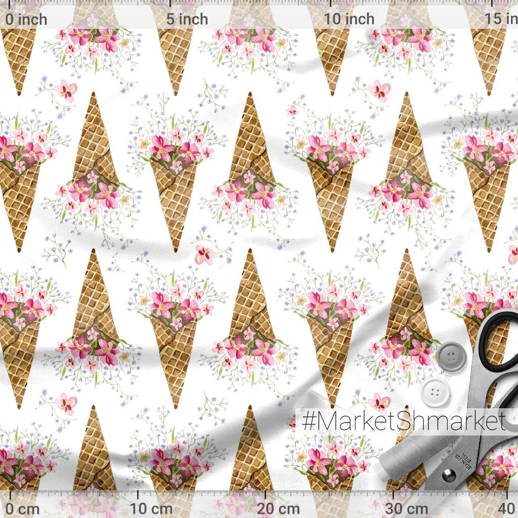 Цветы в вафельке на белом фоне