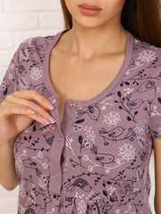 Мамаландия. Сорочка для беременных и кормящих с кнопками короткий рукав, птички на кофе вид 2
