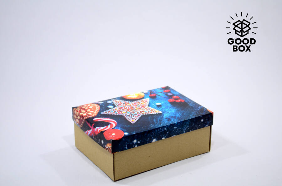 Новогодняя коробка с изображением звезды купить в Казахстане