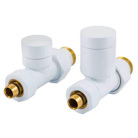 Комплект клапанов с ручной регулировкой Форма Прямая, Элегант Белый. Для меди GZ 1/2 х 15х1