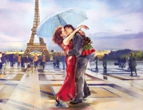 Алмазная Мозаика 40x50 Поцелуй влюбленных в Париже (арт. SGL70310)