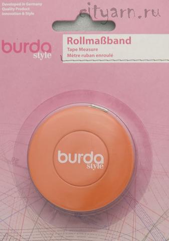 Рулетка портновская Burda, длина 1.5 м, автоматическое сматывание и фиксатор, шкала в дюймах и сантиметрах, оранжевая