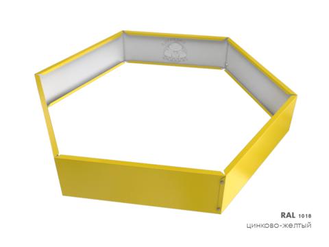 Клумба многоугольная оцинкованная 1 ярус RAL 1018 Цинково-жёлтый
