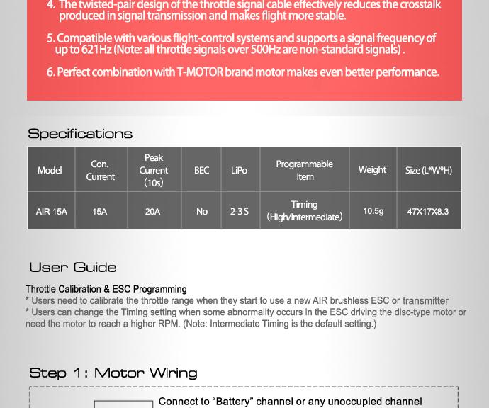 Характеристики ESC регулятор мотора T-Motor 15A Air 2-3S