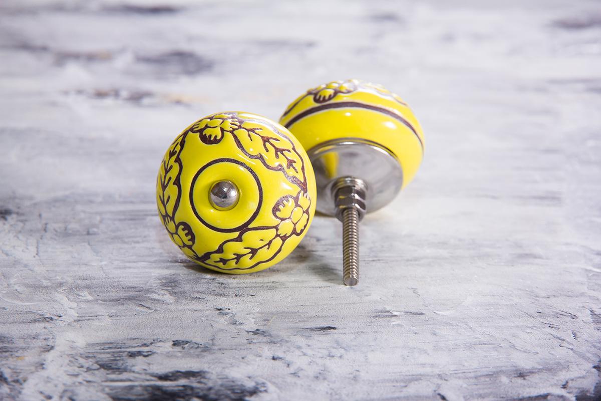 Ручка мебельная керамическая  - желтая с цветочной гравировкой, арт. 00001035