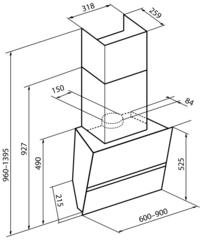 Вытяжка Korting KHC 99080 GW схема
