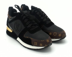 Черные текстильные кроссовки с вставками из замши