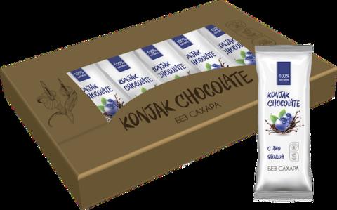 Шоколад без сахара KONJAK CHOCOLATE Черничный, кор. 10 шт.